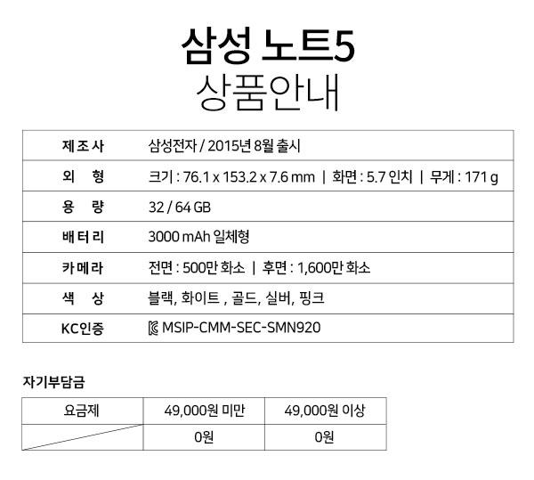삼성 노트5 상품안내